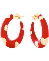Alison Lou Petite Amour Heart Red Hoops - Natural