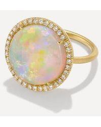 Irene Neuwirth Pave Round Ring - Opal - Metallic