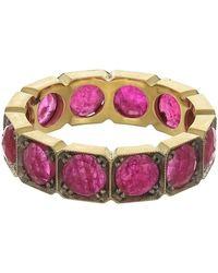 Sylva & Cie Square Ruby Band Ring - Multicolour