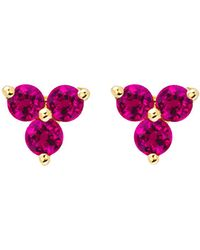 EF Collection - Ruby Trio Stud Earrings - Lyst