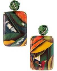 Silvia Furmanovich Bird Of Paradise Marquetry Earrings - Green