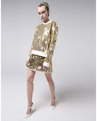 Giambattista Valli Gold Sequin Crewneck Floral Sweatshirt - Metallic
