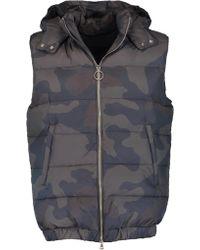 Eleventy Camo Hooded Puffer Vest - Multicolour