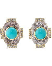 David Webb Turquoise And Rock Crystal Earrings - Blue
