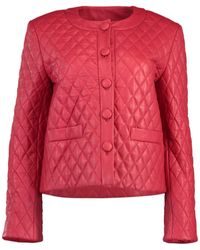 Adam Lippes Quilted Leather Jacket - Red