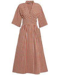Three Graces London Copper Gingham Charita Cotton Midi Dress - Multicolour