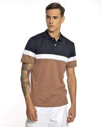 Eleventy Colour Blocked Giza Cotton Polo - Blue