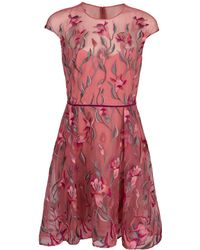 Marchesa notte - Embroidered Cocktail Dress - Lyst