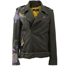 Etro Floral Print Leather Jacket - Green