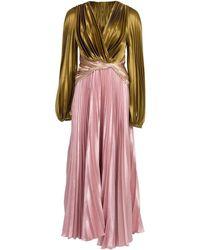 Peter Pilotto Pleated Liquid Satin Gown - Multicolour