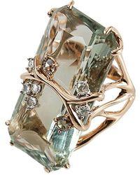 Federica Rettore Antique Cut Green Prasiolite Ring - Multicolor