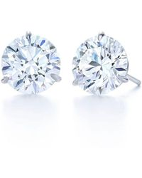 Kwiat Round Diamond Studs 2.04 Ctw - Blue