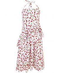Michael Kors Cherry Print Ruched Peplum Halter Dress - Multicolor