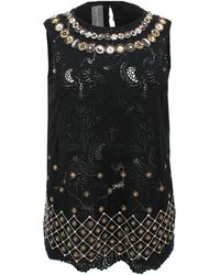 Monique Lhuillier Sleeveless Guipure Lace Embroidered Top - Black