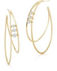 Jade Trau Penelope Double Diamond Hoops - Multicolour