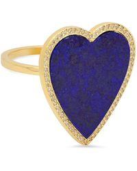 Jennifer Meyer - Lapis Inlay Diamond Heart Ring - Lyst