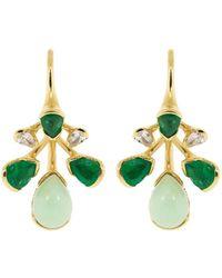 Fernando Jorge Emerald, Chrysprase, And Diamond Corolla Earrings - Green