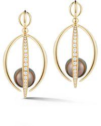 Katherine Jetter Tahitian South Sea Pearl Half Cage Earrings - Metallic