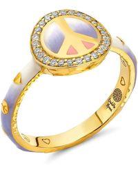 Buddha Mama Ombre Enamel Peace Sign Ring - Metallic