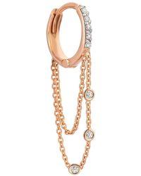 Kismet by Milka Three White Diamond Dangle Chain Earring - Multicolour