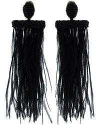 Oscar de la Renta - Feather Tassel Earrings - Lyst