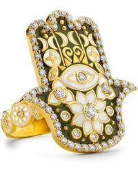 Buddha Mama Army Green Enamel Hamsa Ring - Metallic