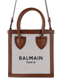Balmain Ecru Canvas B-army 42 Tote - Natural