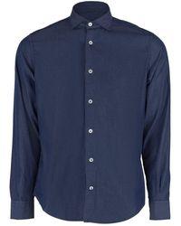 Eleventy Chambray Spread Collar Shirt - Blue