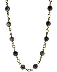 Sylva & Cie Striped Agate Beaded Necklace - Metallic