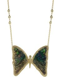 Jacquie Aiche Xxl Opal And Diamond Butterfly Necklace - Multicolour