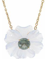 Irene Neuwirth Chalcedony Flower Necklace With Green Tourmaline - Metallic