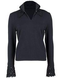 Valentino Crochet Trim Polo Collar Jumper - Black