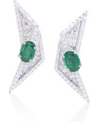 Kavant & Sharart Emeralds And Diamond Origami Fold Earrings - Green