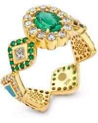 Buddha Mama Blue Green Tourmaline Oval Ring - Metallic