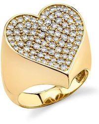 Sydney Evan Large Pave Heart Signet Ring - Metallic