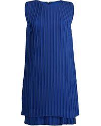 Victoria, Victoria Beckham Pleated Shift Dress - Blue