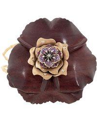 Silvia Furmanovich Sculptural Botanical Purple Carved Flower Bracelet