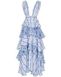 Gül Hürgel Blue Iznik Sleeveless Ruffle Dress