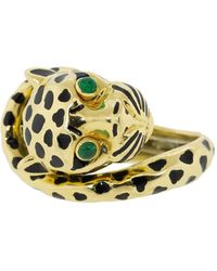 David Webb Leopard Black Enamel And Emerald Ring - Metallic