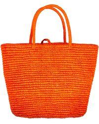 Sensi Studio Maxi Woven Straw Tote - Orange