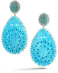 Dana Rebecca Opal And Turquoise Earrings - Blue