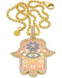 Buddha Mama Large Pink Enamel Hamsa Pendant - Metallic