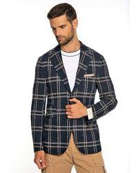 Eleventy Blue Plaid Single Breasted Jacket