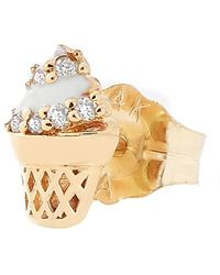 Alison Lou Single Ice Cream Cone Stud Earring - Metallic