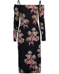 Blumarine Long Sleeve Off Shoulder Print Dress - Black