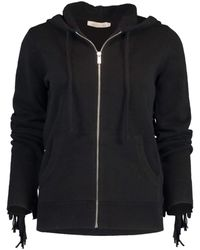 Michael Kors Black Cashmere And Suede Fringe Hoodie