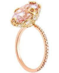 Lito Oval Cut Kunzite Diamond Ring - Multicolour