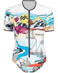 Mary Katrantzou Paint By Number Mult Lago Di Garda Swimsuit - Blue