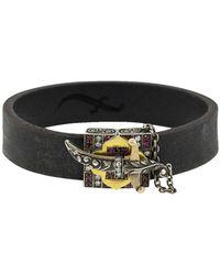 Sevan Biçakci Black Leather Diamond Dagger Bracelet