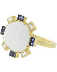 021593d065e Sylva   Cie - Cachalong Opal Petal And Sapphire Ring - Lyst